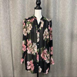 Nanette Lepore Sheer Floral Pintuck Blouse sz S
